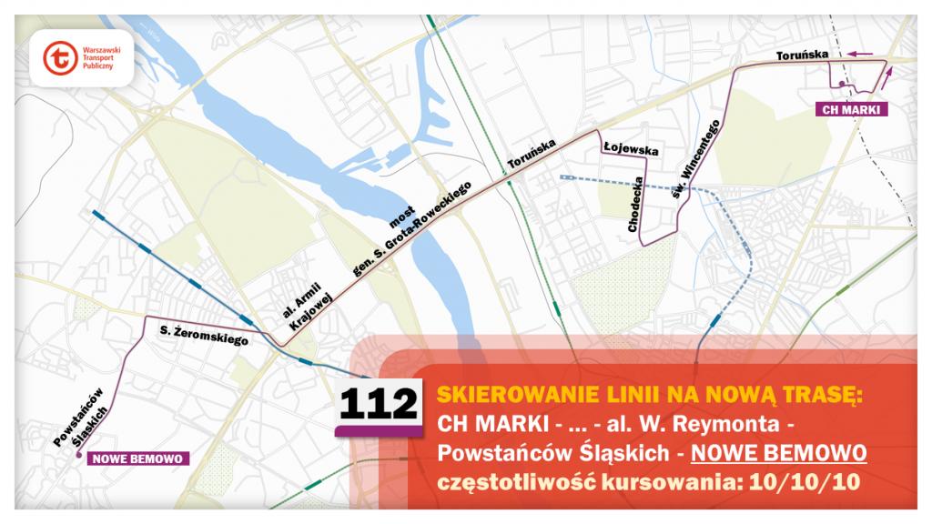 Schemat proponowanych zmian dla linii 112