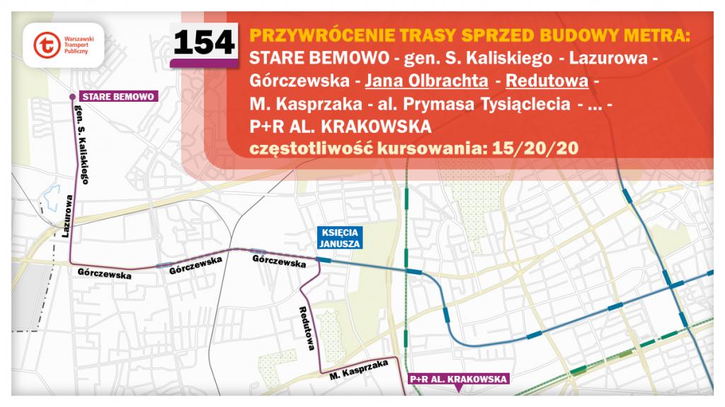 Schemat proponowanych zmian dla linii 154
