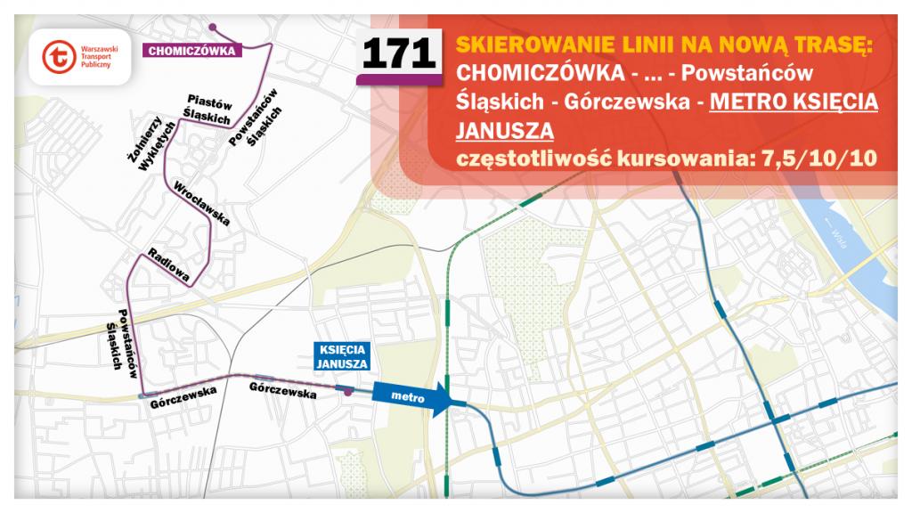 Schemat proponowanych zmian dla linii 171