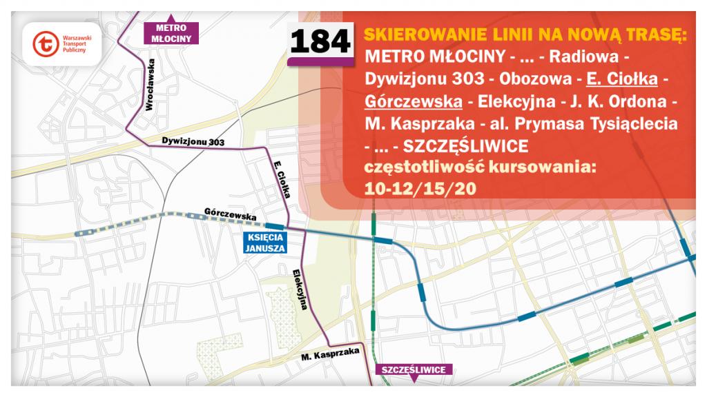 Schemat proponowanych zmian dla linii 184