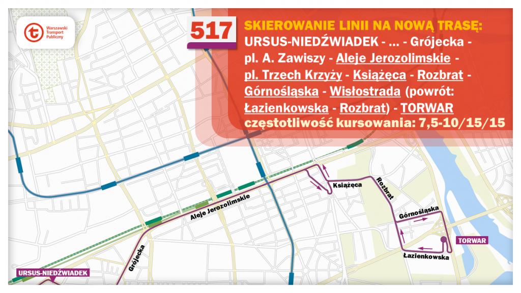 Schemat proponowanych zmian dla linii 517