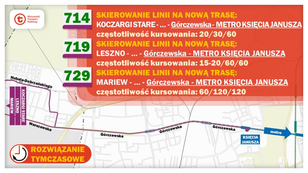 Schemat proponowanych zmian dla linii 714, 719 i 729