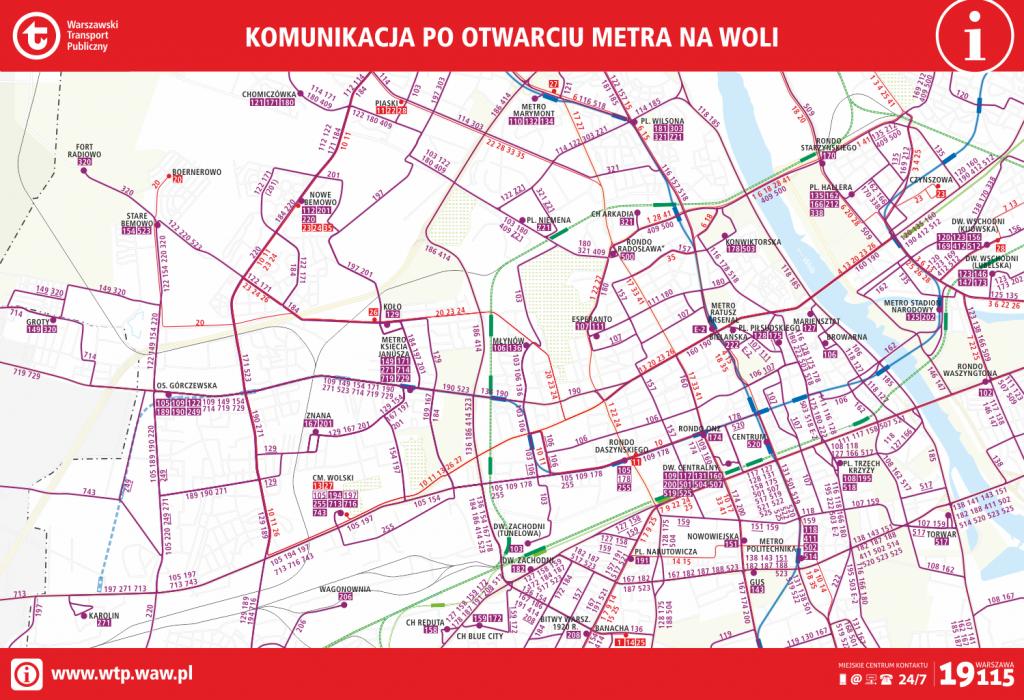 Schemat komunikacji miejskiej po otwarciu metra na Woli
