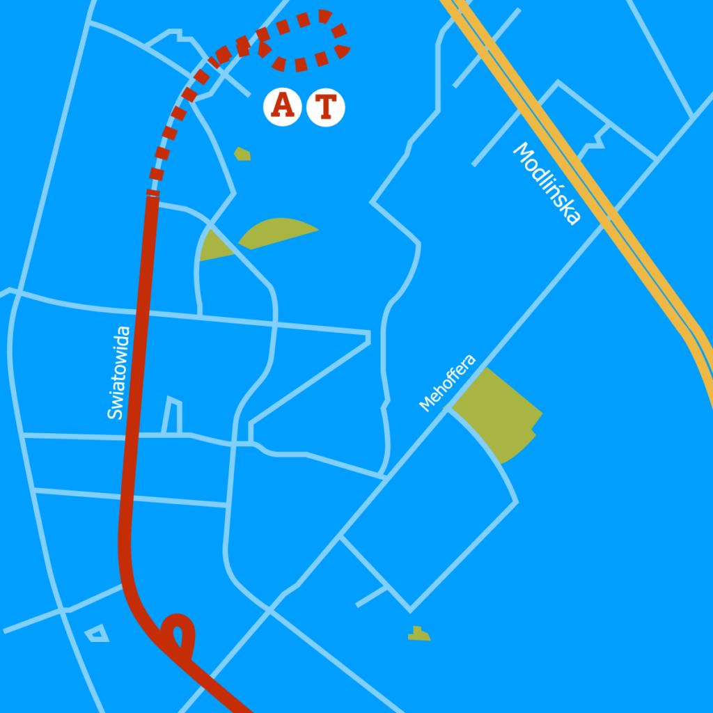 schemat trasy tramwajowej na Winnicę