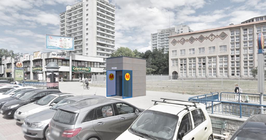 Wizualizacja planowanej windy przy stacji metra Pole Mokotowskie (winda A)
