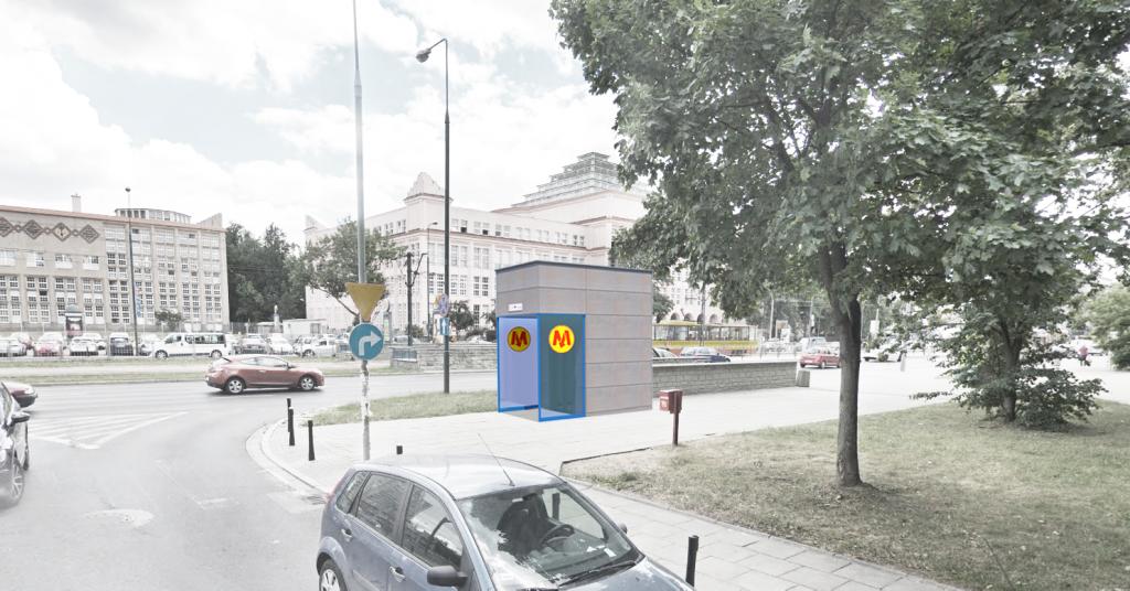 Wizualizacja planowanej windy przy stacji metra Pole Mokotowskie (winda C)