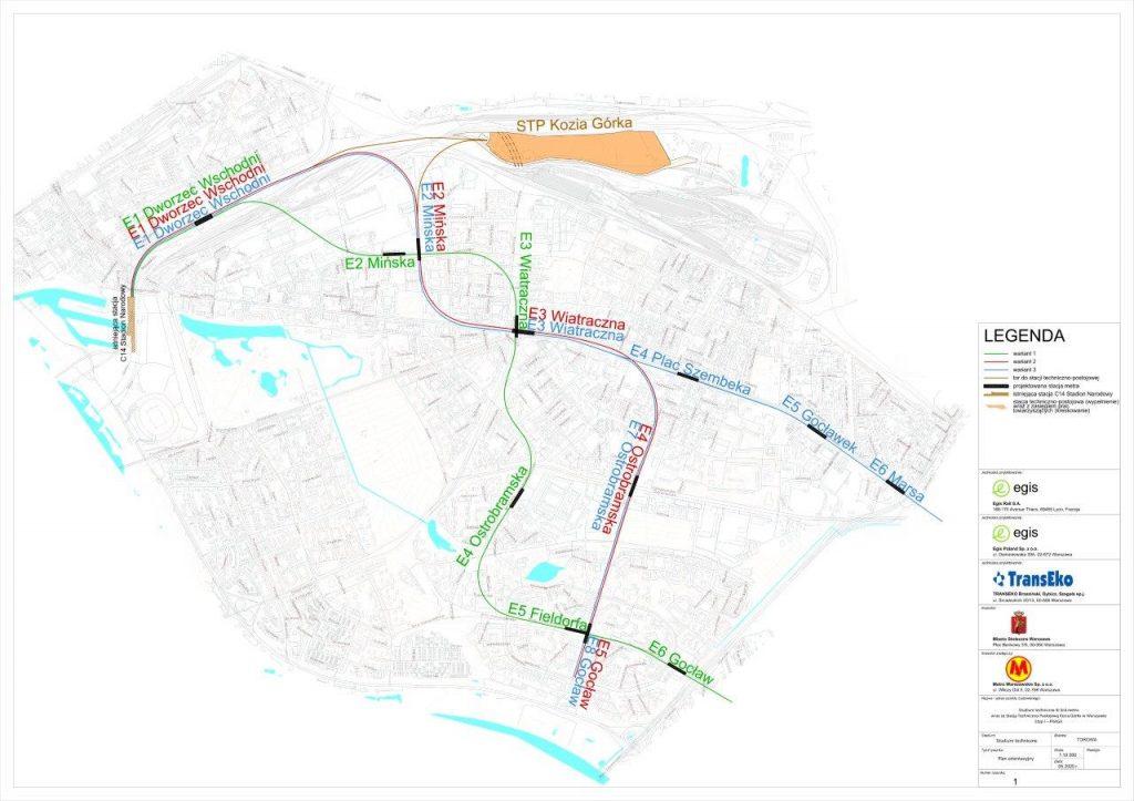 schemat analizowanych wariantów przebiegu trzeciej linii metra