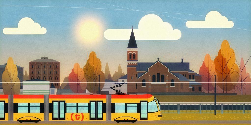 Grafika tramwaju na ul. Kasprzaka