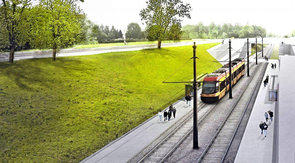 Wizualizacja tramwaju w wykopie ul. Wolskiej