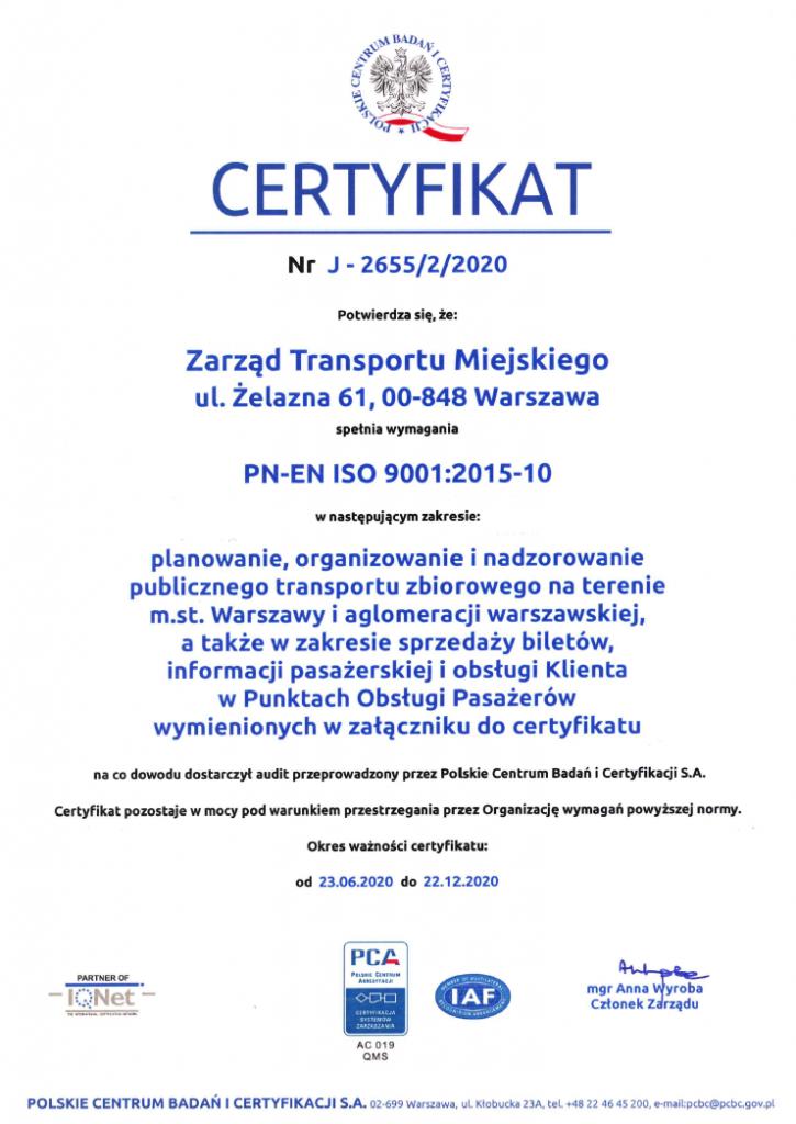 Certyfikat Systemu Zarządzania Jakością nr J-2655/2/2020
