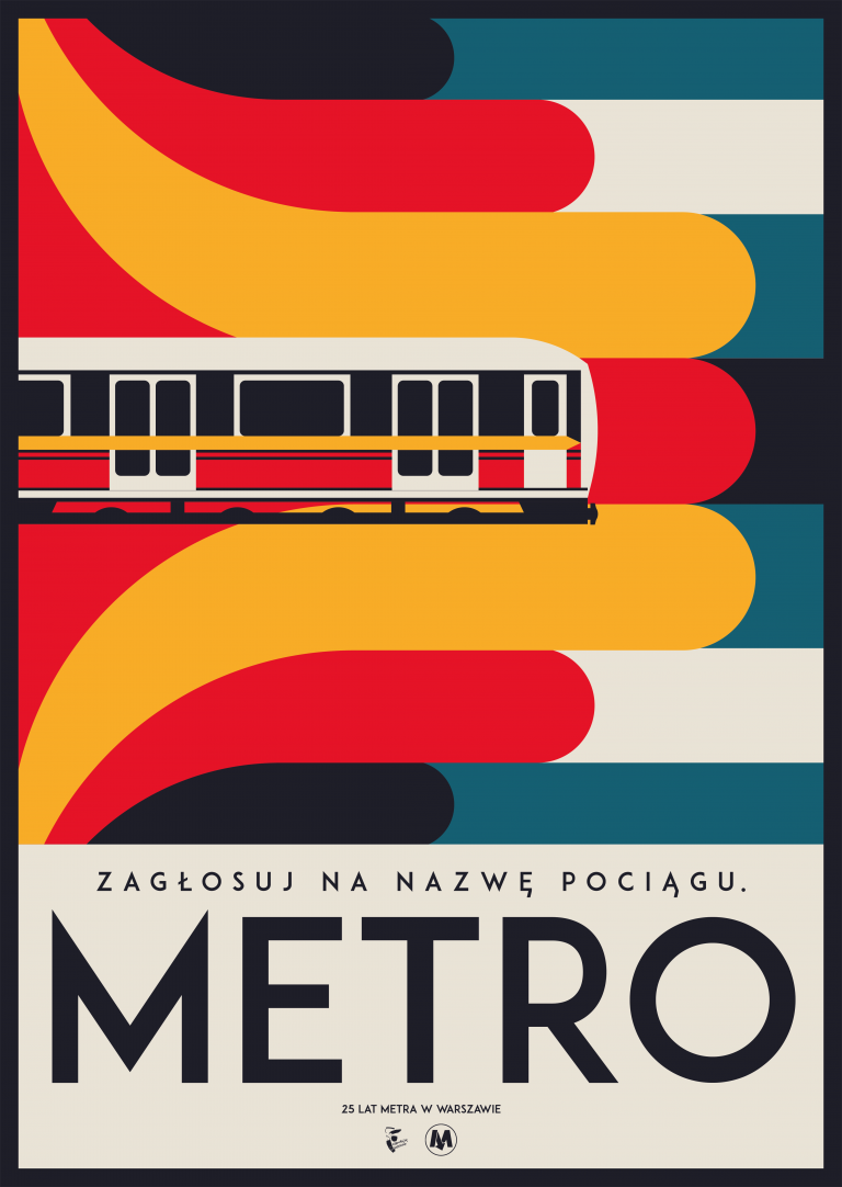 plakat konkursowy z wagonem metra