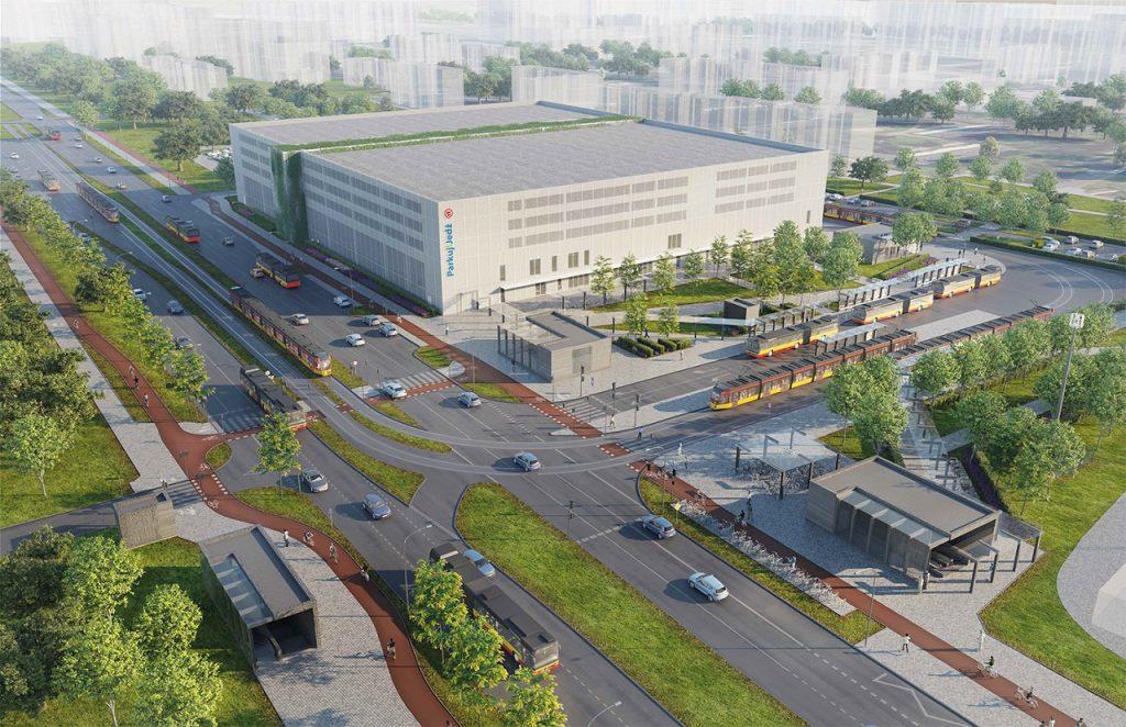 wizualizacja - parking P+R i stacja C03 Lazurowa