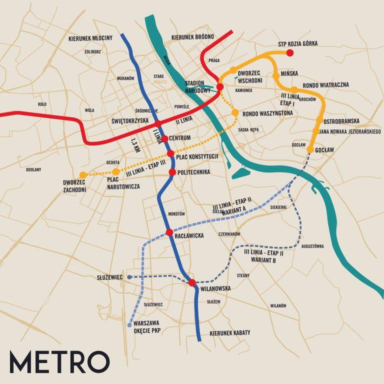 Mapa planowanej trzeciej linii metra