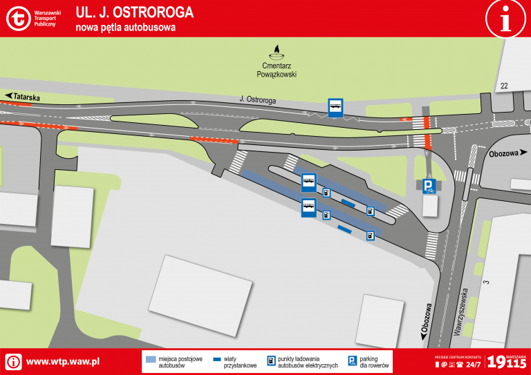 Schemat planowanej pętli autobusowej przy ul. Ostroroga