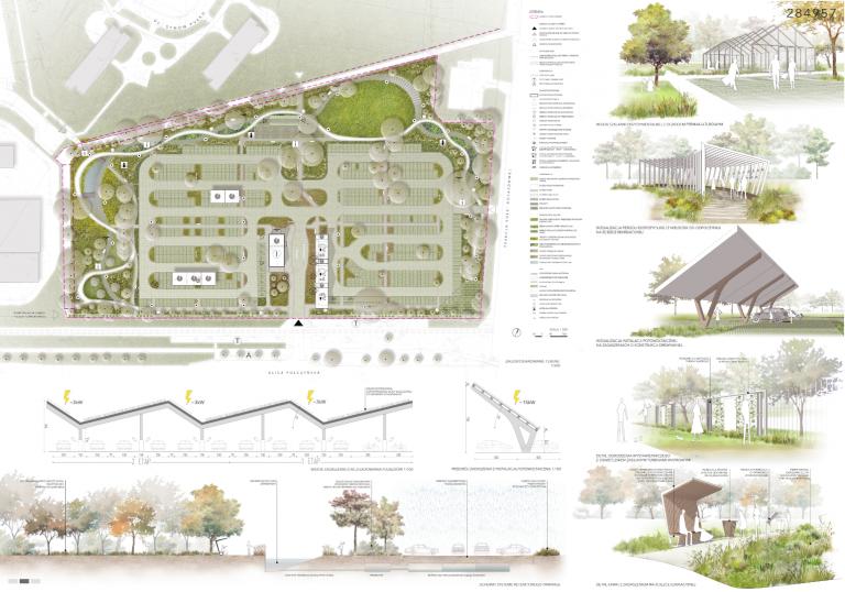 koncepcja parkingu EKO P+R Połczyńska, na bazie której powstanie projekt