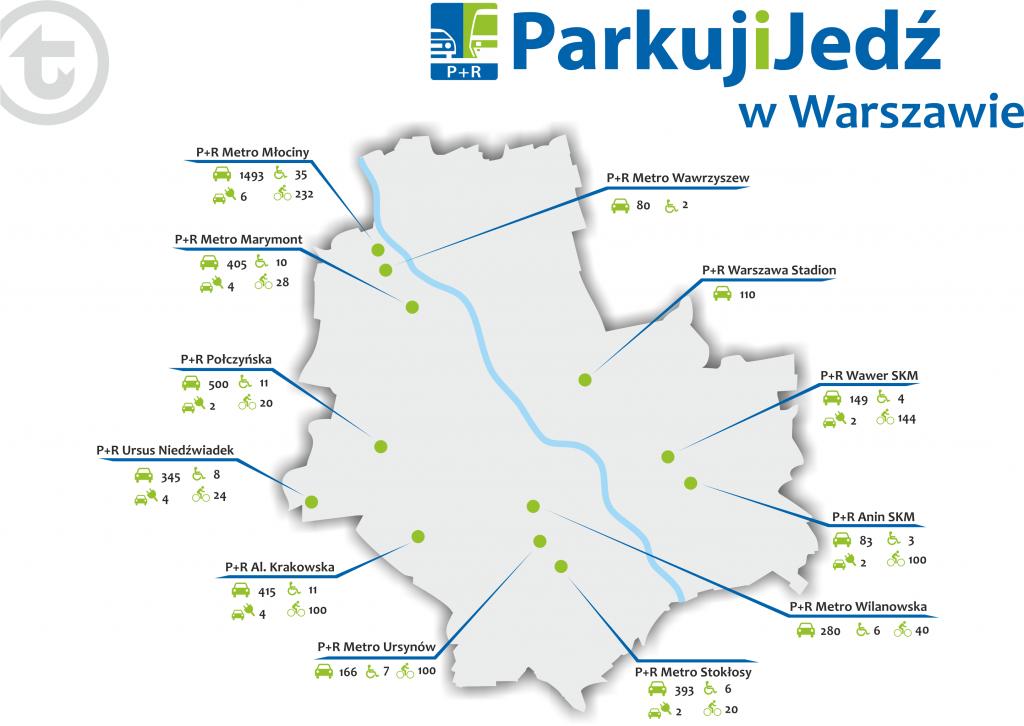 Schemat prezentujący lokalizacje parkingów P+R na terenie Warszawy, wraz z ilością i podziałem miejsc parkingowych