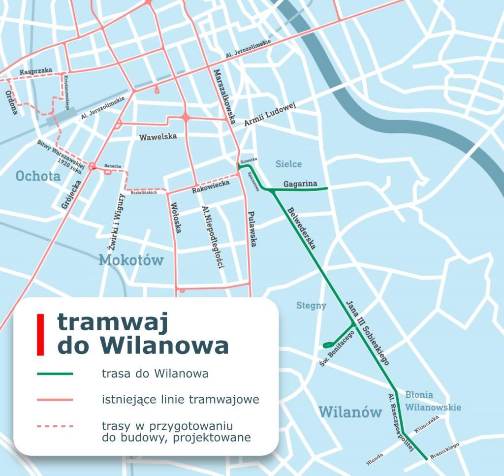 grafika przebiegu tramwaju do Wilanowa