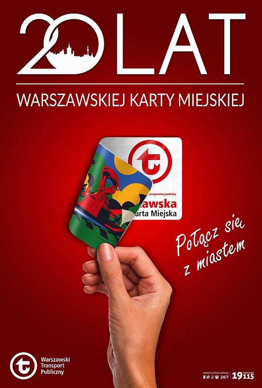 """grafika z napisem: """"20 lat Warszawskiej Karty Miejskiej. Połącz się z miastem"""""""