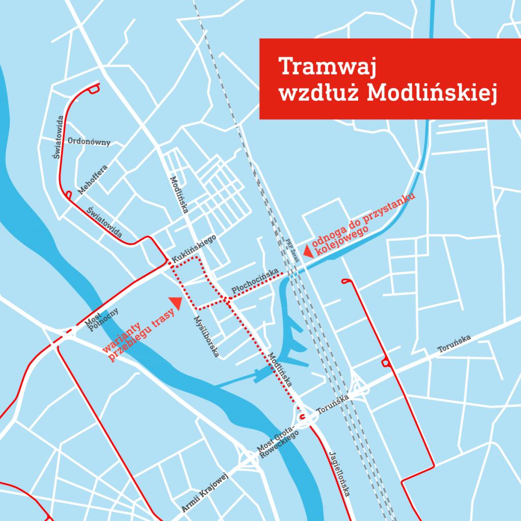 Schemat przebiegu planowanej trasy tramwajowej na ul. Modlińskiej